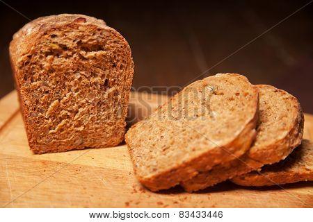 sliced rye bread on the board