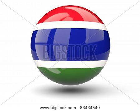 Round Icon Of Flag Of Gambia