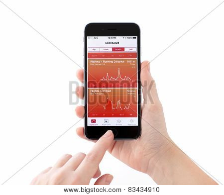 iPhone 6 With Apple Service Health In A Woman's Hand