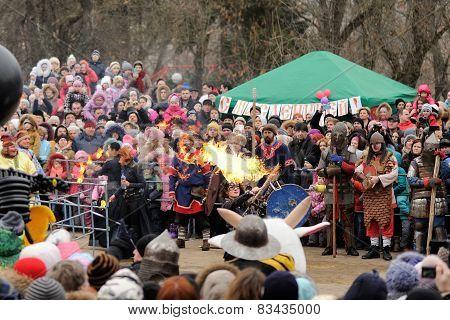 Orel, Russia, Maslenitsa Festival - 22 February, 2015: Fire Show, During Winter Maslenitsa 2015, Car