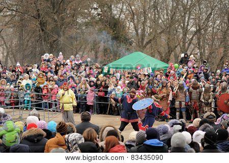 Orel, Russia, Maslenitsa Festival - 22 February, 2015: Knight Show, During Winter Maslenitsa 2015, C
