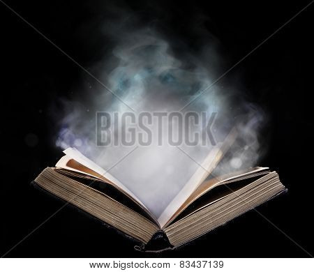 Ancient Open Book In The Magical Smoke
