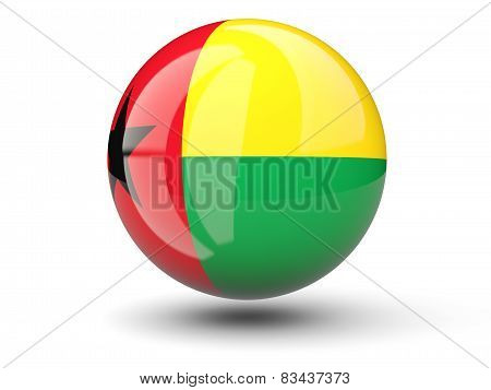Round Icon Of Flag Of Guinea Bissau