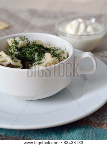 Closeup Of Traditional Russian Pelmeni