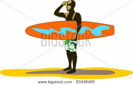 Surfboarder Looks For Waves