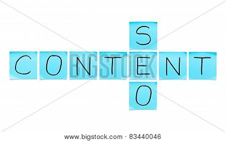 Content Seo Blue Sticky Notes
