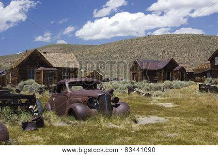 Bodie Ghost Town and rusty car