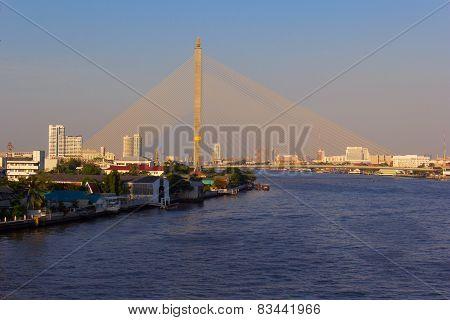 Rama9 bridge against Bangkok citysc