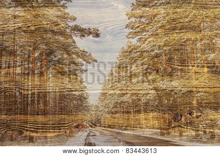 Double Exposure Trees On A Wooden Board Texture