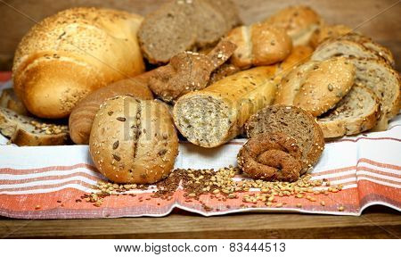 Various pastries and breads with whole grains