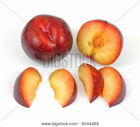 Tree Ripe Red Plums and Slices