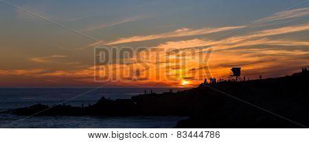 Silhouette Of Pacifc Coast Sunset