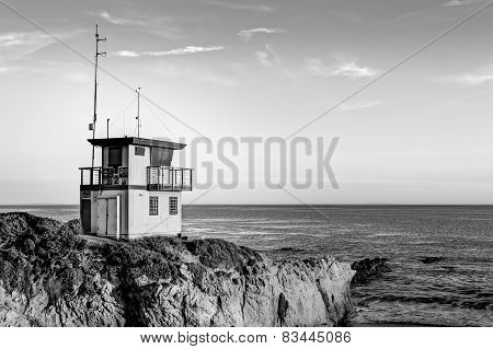 Lifeguard Station At Sunset In Southern California In Black And White