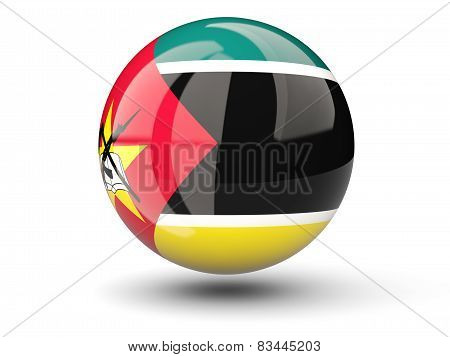 Round Icon Of Flag Of Mozambique