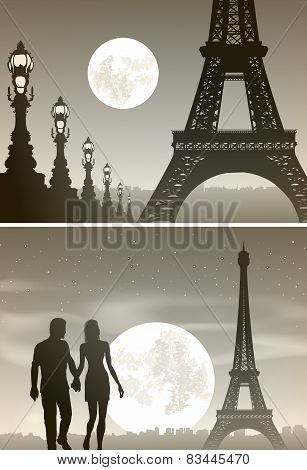 Night Paris And Couple In Love