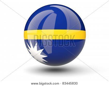 Round Icon Of Flag Of Nauru