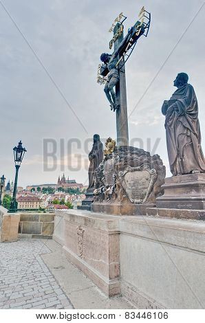 Charles Bridge Crossing Vltava River.