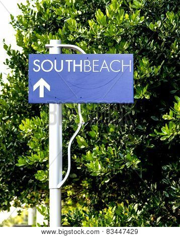 South Beach Street Sign In Miami Beach