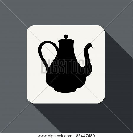 Tea Kettle Icon With Long Shadow