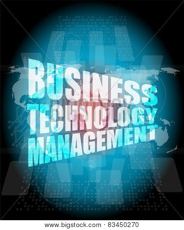 Business Technology Management Words On Touch Screen Interface
