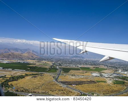 Aerial View Of Santiago De Chile With The Mountains Of The Andes