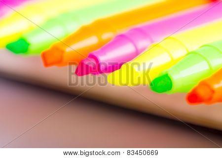 Group Of Felt Tip Bright Color Markers On White Background