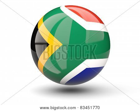 Round Icon Of Flag Of South Africa