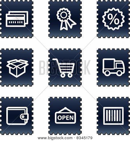 Shopping web icons set 2, navy stamp series