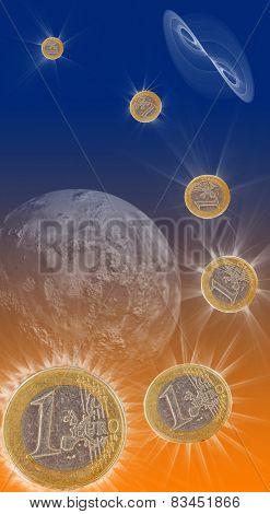 euro coins, star