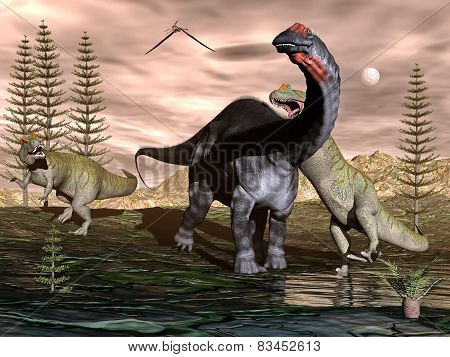 Allosaurus attacking apatosaurus dinosaur - 3D render
