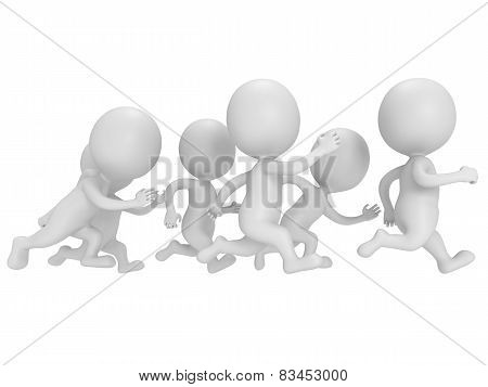 Crowd Of People Running. Sport Illustration.