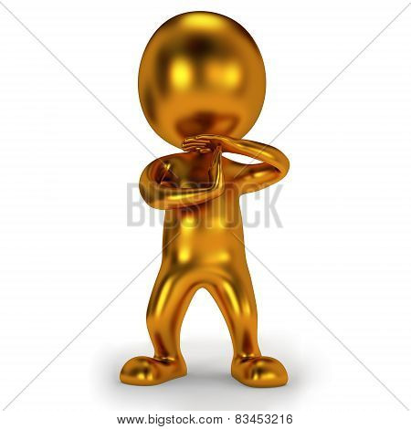 Gold Cute Man Show Time Out Gesture