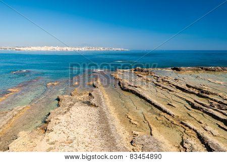 Rocky Coastline Of Plemmirio, In Sicily
