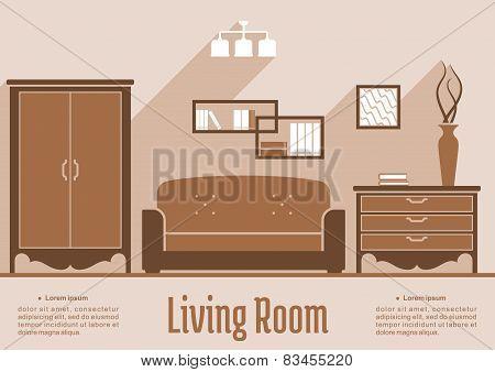 Living room interior flat design