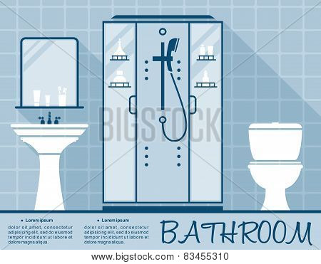 Bathroom design infographic flat template