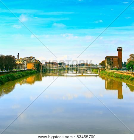 Pisa, Arno River And Bridge. Lungarno View. Tuscany, Italy