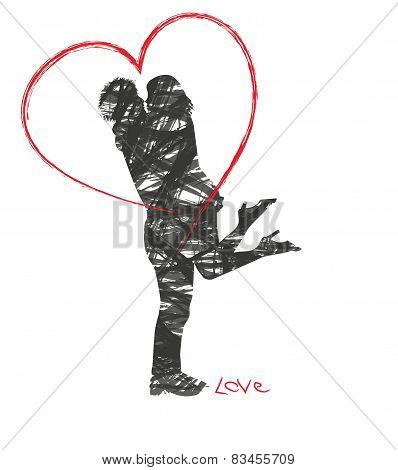 abstract silhouette of lovers