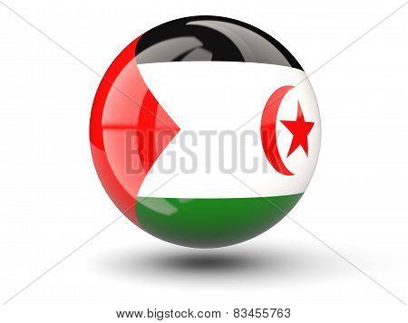 Round Icon Of Flag Of Western Sahara