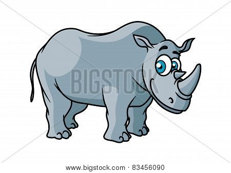 Cartoon grey rhino character