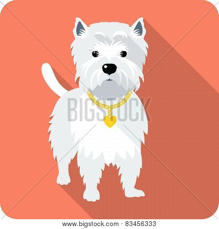 dog West Highland White Terrier icon flat design