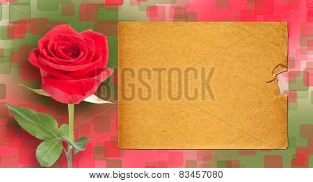 Grunge Ancient Used Paper In Scrapbooking Style With Roses On The Abstract Background With Bokeh Eff