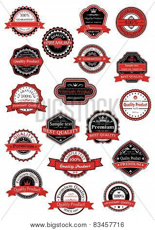 Various labels for premium quality designs