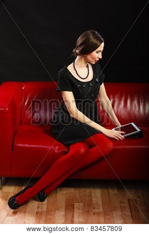 Fashion Woman Retro Style With Tablet