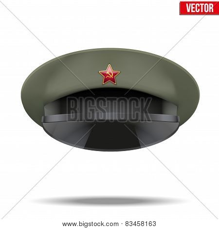 Russian Military officer peaked cap with red star on cockade