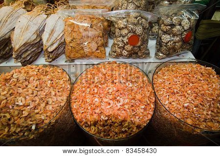 local food market in China Town, Bangkok, Thailand