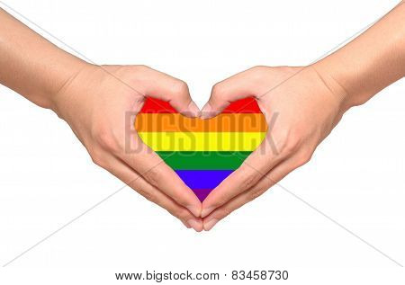 Rainbow Flag Inside Heart Shape From Hands On White Background