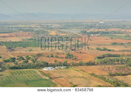Aerial View Of Farmland In Nakornrachasrima Or Korat Thailand