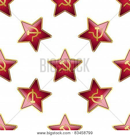 Universal vector badge Soviet Union stars seamless patterns tiling.