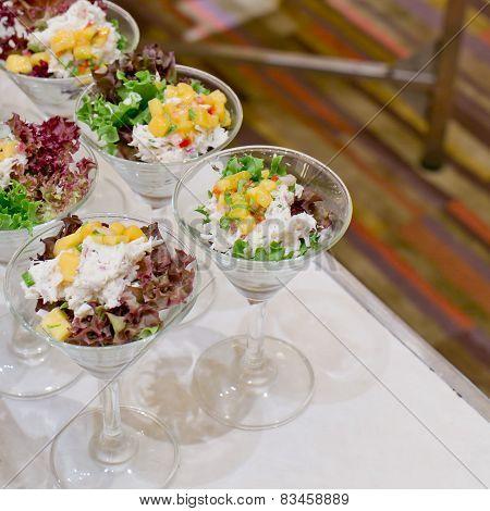 Appetizing Salad In A Transparent Salad Bowl, Food Closeup