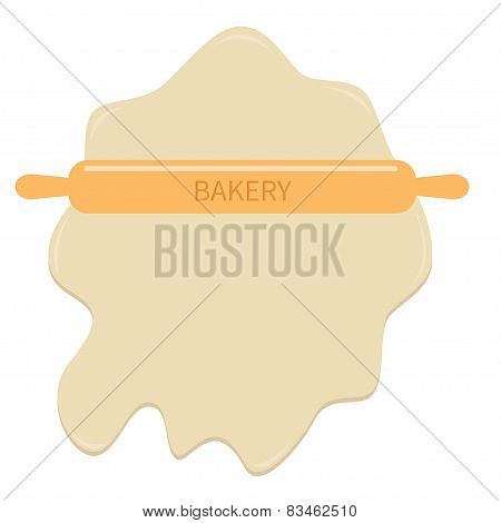 Roll Out Dough And Wooden Rolling Pin Plunger Bakery Tool Template Flat Design